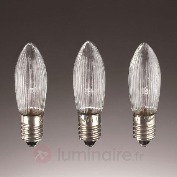 3 Bougies de rechange E10 3W 8V - Ampoules à l'unité
