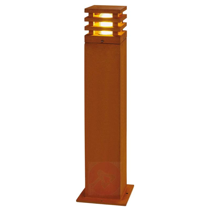 Country-style Rusty LED path light, square - outdoor-led-lights