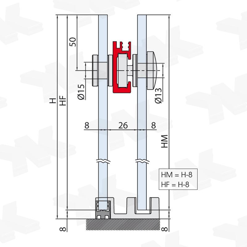 Corner shower with two fixed parts, track length 1500 mm - Fittings for sliding doors