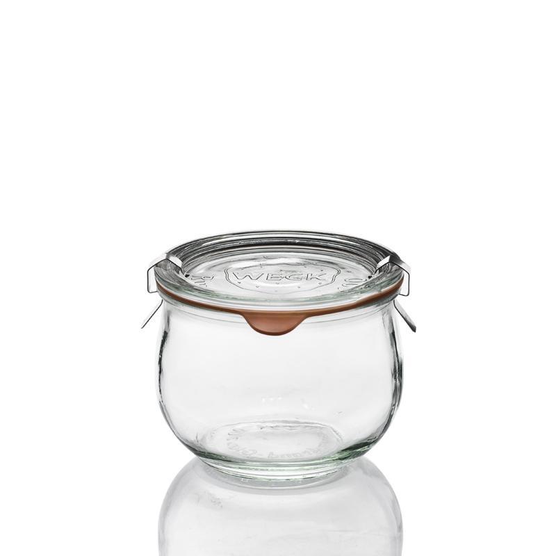Tarros WECK COROLLE® - 6 tarros en vidrio WECK Corolle® 580 ml con tapas en vidrio y gomas (clips no
