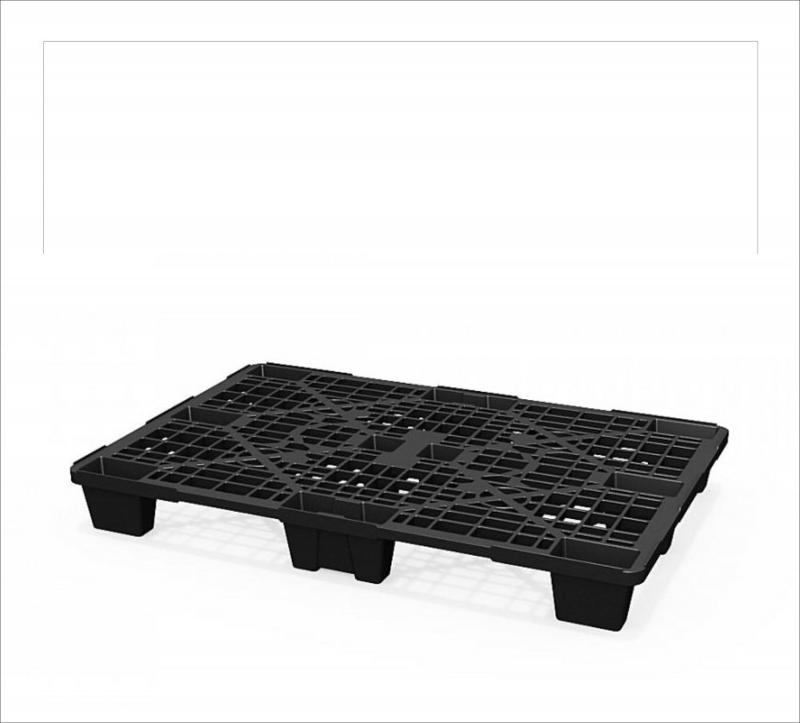 Light perfporated plastic pallet with legs in a black... - Art.: 02.102.99R