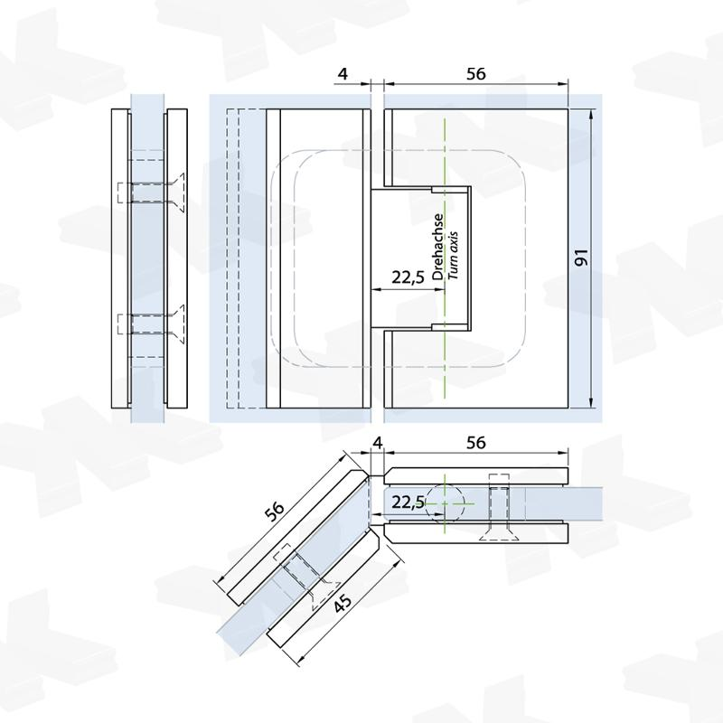 Shower door hinge glass-glass 135°, with cover, opening on both sides - Shower hinges