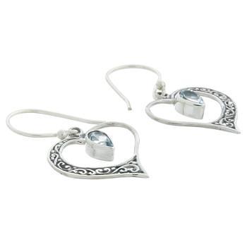 Sterling Silver Blue Topaz Heart Dangle Earrings - Product ID 54344B