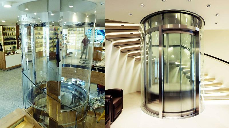 Glass elevators and stairs - Round glass elevator