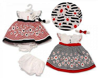 Baby Dress- Stripes and Flowers -