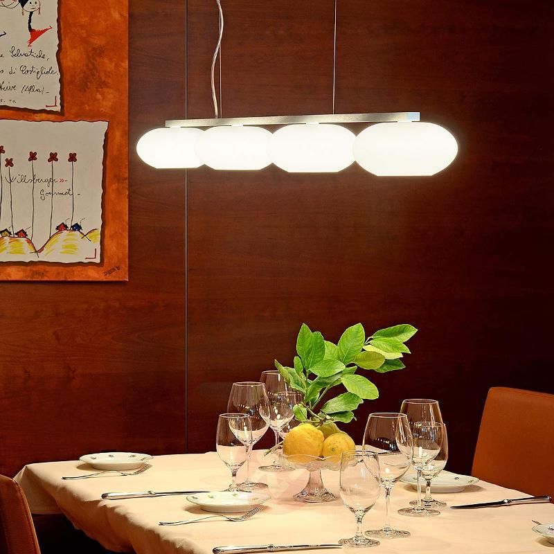 Aih - beam pendant light with four glass shades - Pendant Lighting