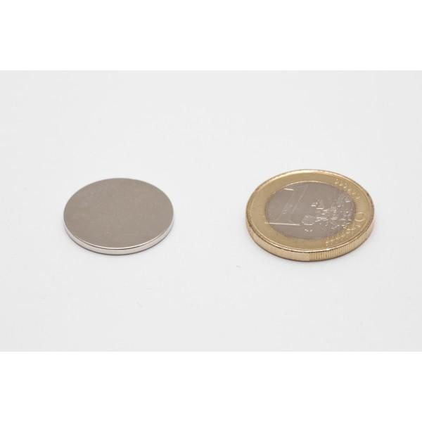 Neodymium disc magnet 20x1,5mm, N45, Ni-Cu-Ni, Nickel coated - Disc