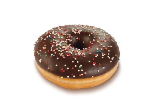 Ring Donut, dark Glaze with a colourful Decoration - American bakery