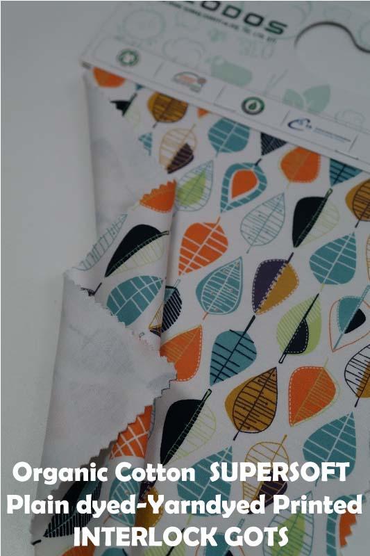 Organic Cotton Interlock Gots - Printed- Plaindyed - Yarndyed GOTS