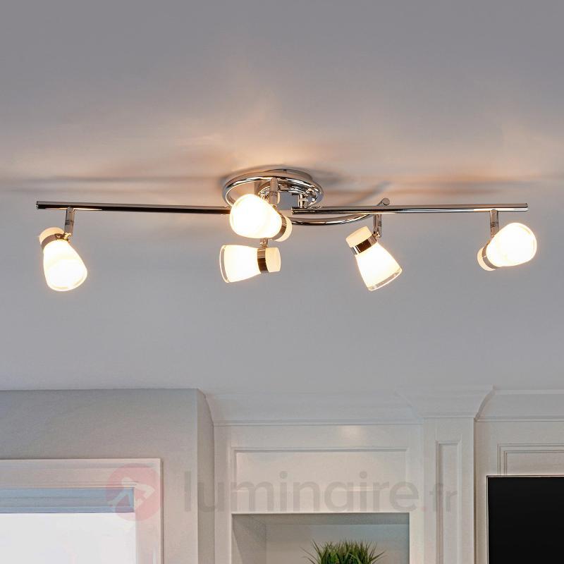 Plafonnier Nicaro à abat-jour en verre, à 5 lampes - Spots et projecteurs halogènes