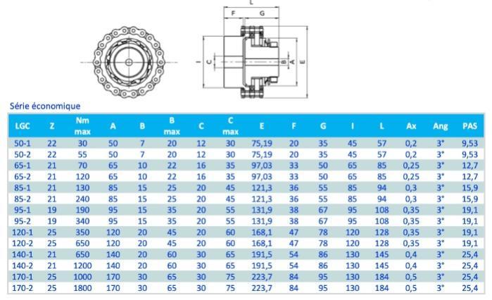 Accouplement à chaîne limiteur de couple à friction - Accouplement à chaîne limiteur de couple à friction