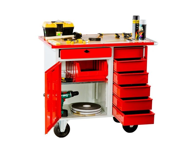 Metal tool trolley with a cabinet and drawers locked with a key. - null