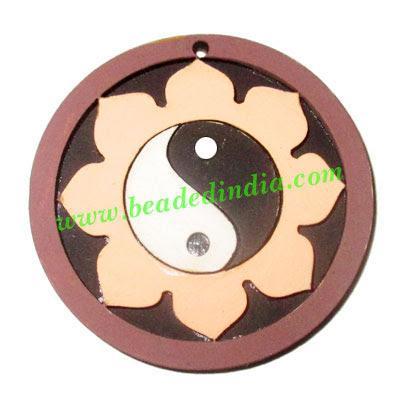 Handmade wooden yin yang (tai ji) pendants, size : 44x3mm - Handmade wooden yin yang (tai ji) pendants, size : 44x3mm
