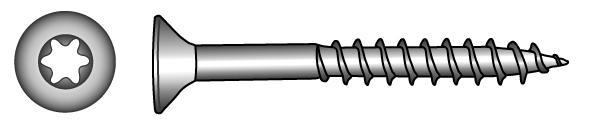 Senkkopf-Holzbauschrauben, Vollgewinde, TX-Innensechsrund - Material A2 | A4