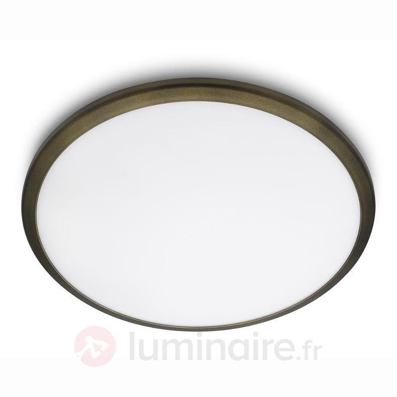 Plafonnier LED Denim, bordure en bronze - Plafonniers LED