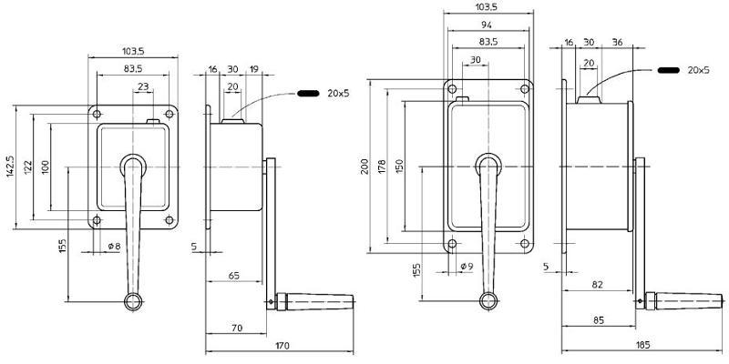 Treuils manuels - Treuil manuel à câble 50kg et 100kg compacte