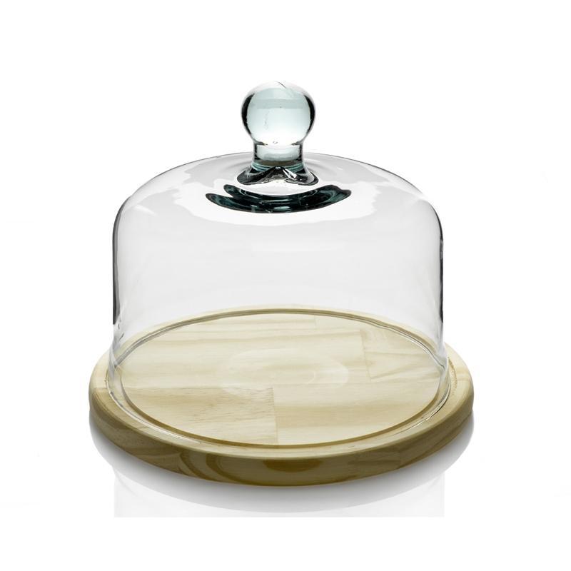 Cloche à Fromage ou à gâteau en verre, support en bois