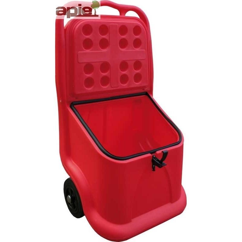 Coffre mobile 75 L pour sel, sable, absorbants - Référence : BMPE75J