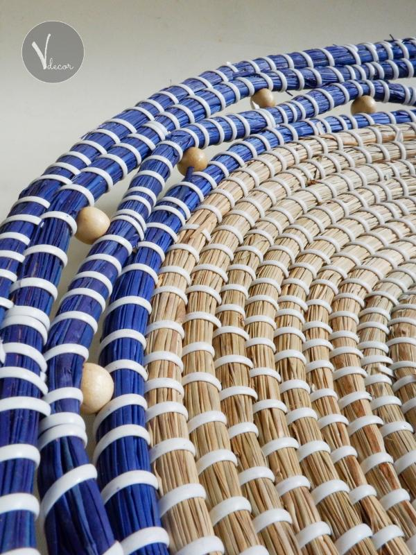 Handwoven Blue Border Seagrass Plates - Shop