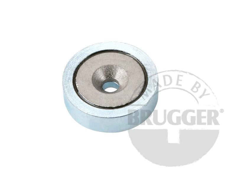 Flat pot magnets SmCo, with bore and counter bore - null