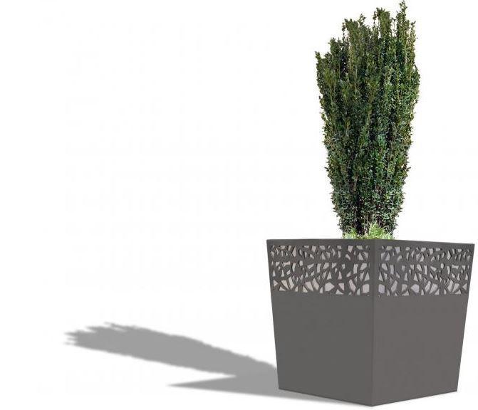Jardinière en acier 4 pieds réglables - Jardinière en acier avec motif résille en partie haute sur 4 côtés