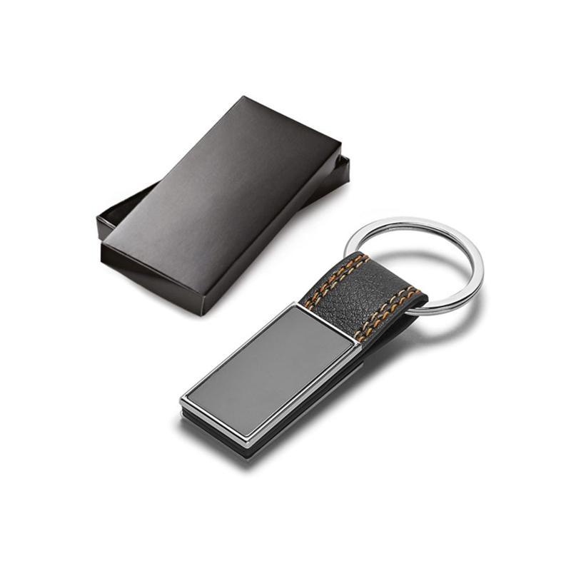 Porte-clés noir avec couture orange - Porte-clés métal