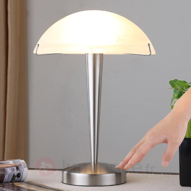 Jolie lampe à poser Viola, nickel mat - Lampes de chevet