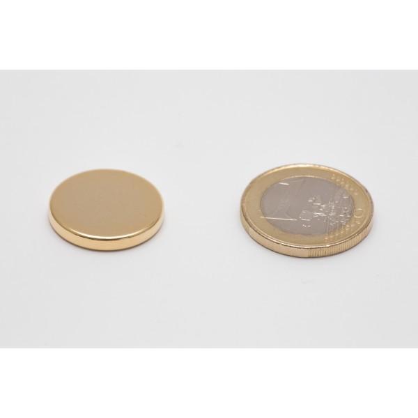Neodymium disc magnet 20x3mm, N45, Ni-Cu-Ni, gold coated - Disc