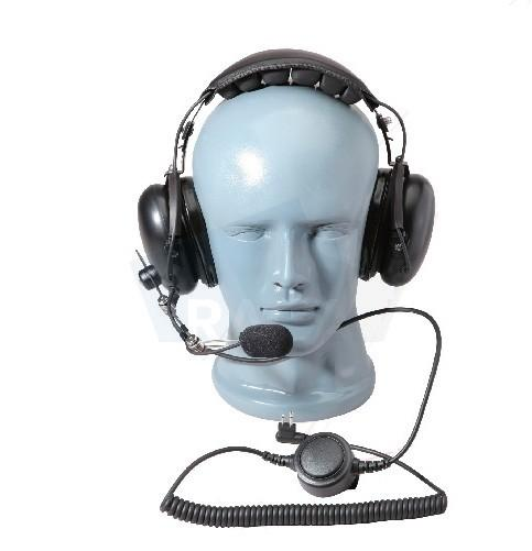 Aviator headset with flexible boom microphone and big PTT - Two-way radio headset Motorola