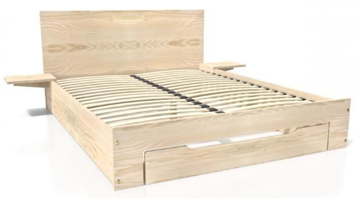 Lit HAPPY en bois 2 places - + tiroir + chevet amovible