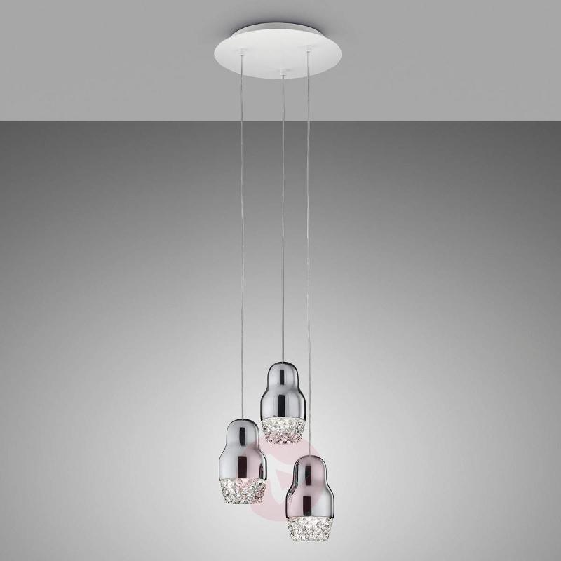 Chrome-coloured LED hanging light Fedora 3-bulb - Pendant Lighting