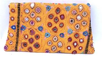 vintage hand embroidery leather clutch -