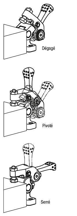 Mini bride pivotante avec levier à serrage rapide - Éléments de bridage et d'ajustement