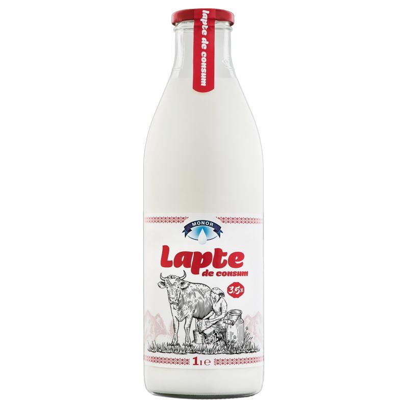 Lapte 3,5% 1L (sticla de sticla) - ambalat in sticla de sticla
