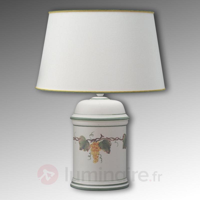 Lampe à poser Vigna au pied en céramique - Lampes à poser en tissu