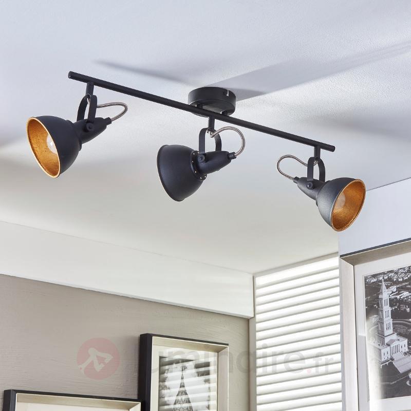 Plafonnier à trois lampes Julin, noir doré - Tous les spots et projecteurs