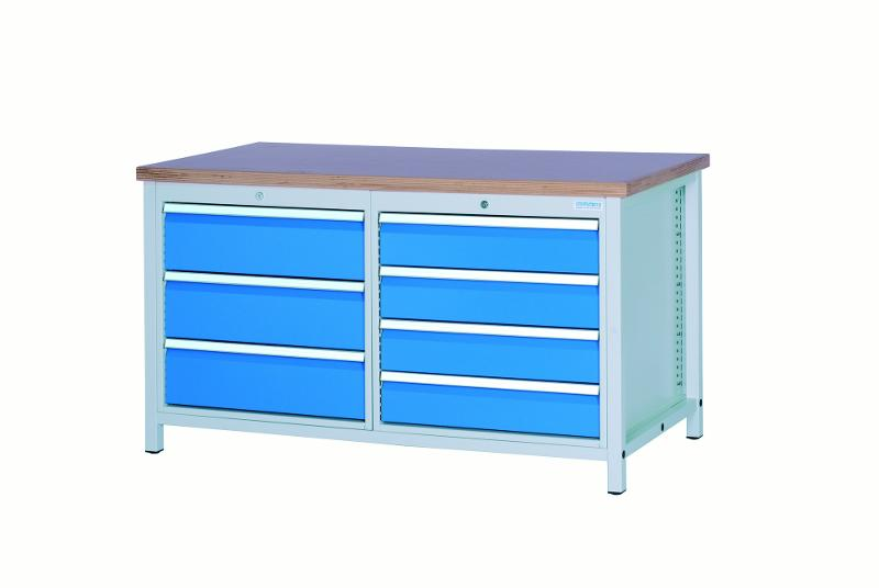 Workbench 1500 with 7 drawers, different front heights - 03.15.34V9A