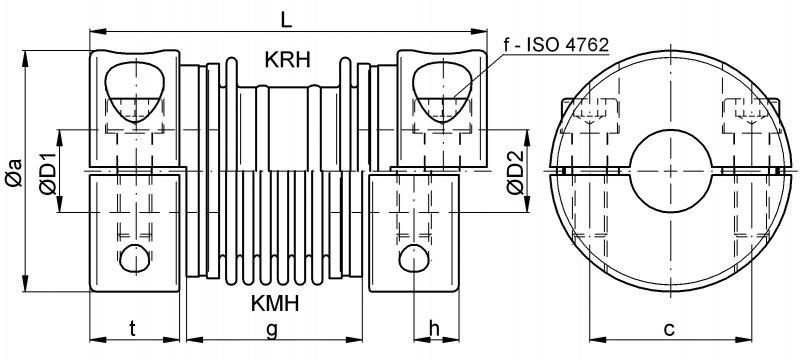 Metal bellows couplings KPH / KMH / KRH - Metal bellows couplings with splitted hub design on both sides