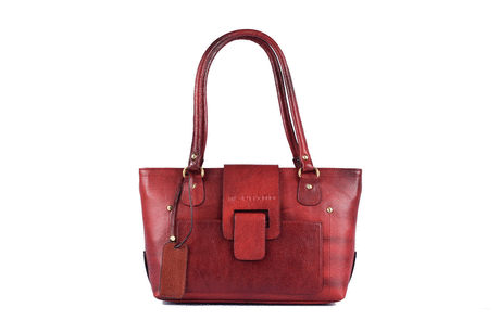 Cut flap women's leather handbag