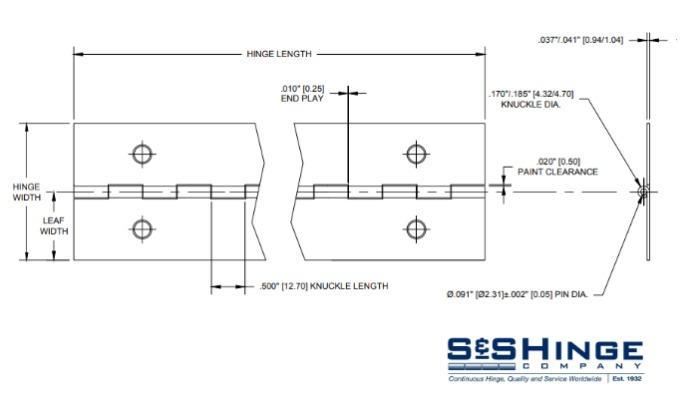 Hinges - 1000 Series - CAD files - 1001x96
