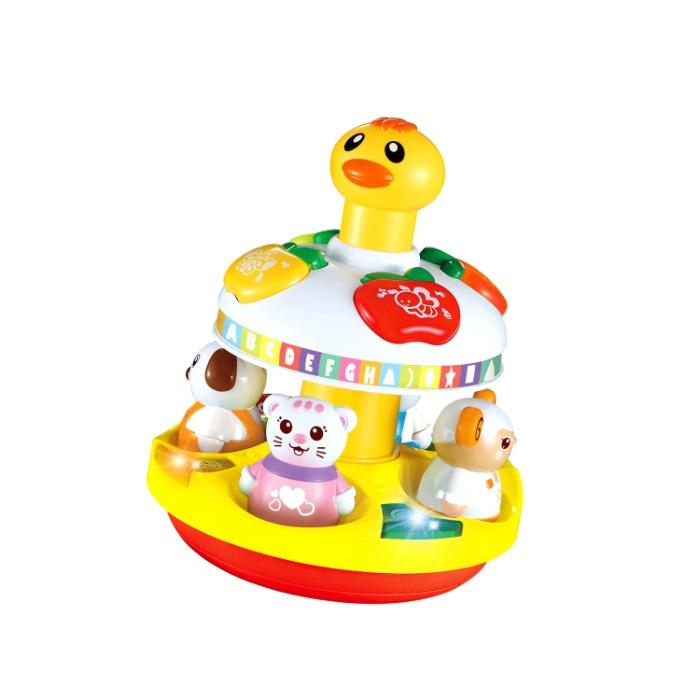 Lovely cartoon animal rotating sensory rattle ball music for - Baby Toy