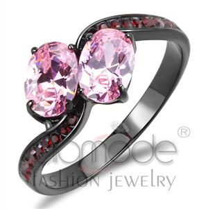 TK3444 - Stainless Steel Ring IP Black(Ion Plating) Women AAA Grade CZ Rose