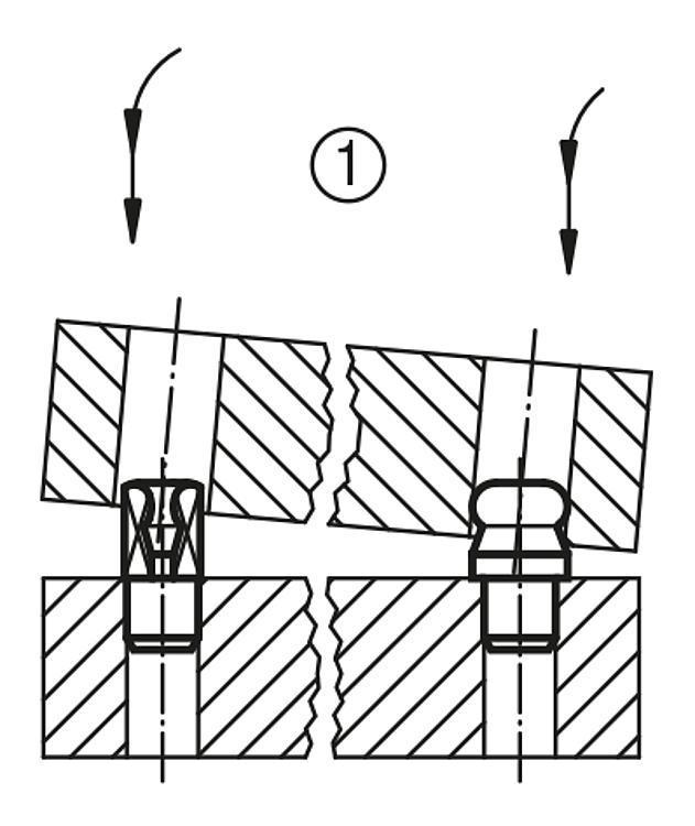 Cimblot épaulé à bout sphérique, Forme B - Cimblots, systèmes de positionnement