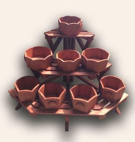 Triangular ladder flower rack - Wooden material