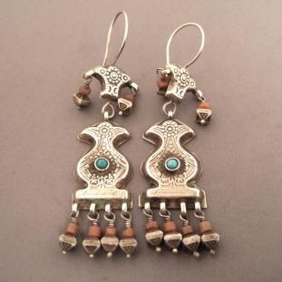 Boucles d'oreilles - Argent, vermeil, corail, turquoises, Asie Centrale