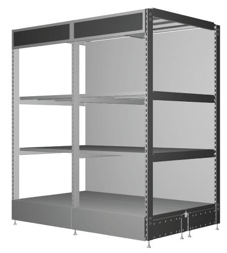 Modular shop rack systems & instore interior shelving design - Midi Rack