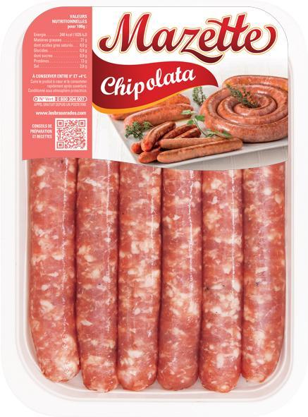 Chipolata Mazette (x6 300g, x12 600g, x18 900g, 2kg) - Viande et volailles