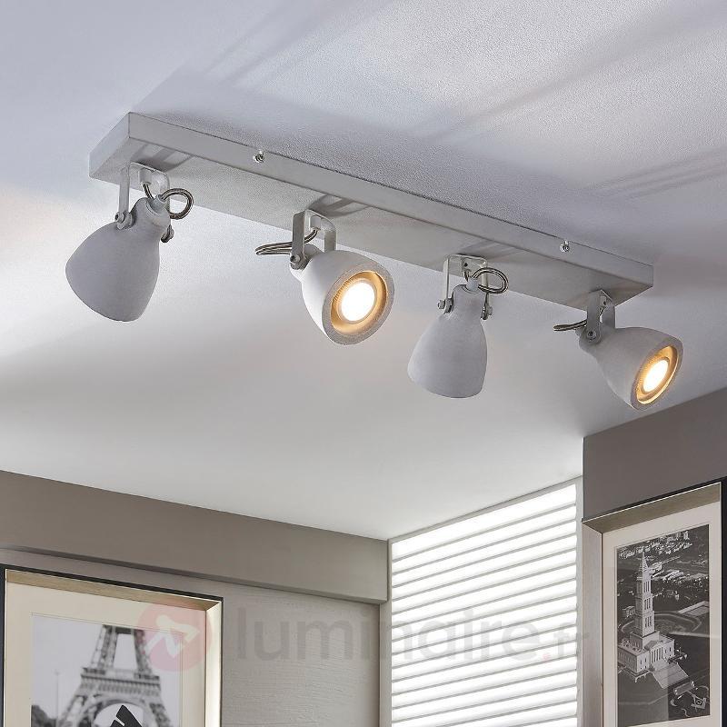 Plafonnier LED en béton à quatre lampes Kadiga - Spots et projecteurs LED