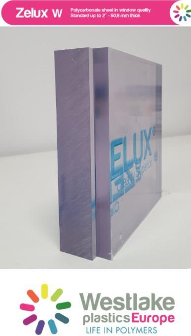 Zelux W: Transparentes Polykarbonat mit optischer Qualität - UV-stabiles dickes transparentes Polykarbonat, flammhemmend UL94 V-0