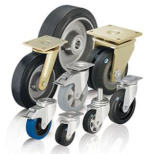 Rubber wheels and castors - Heavy duty wheels and castors with elastic solid rubber tyres